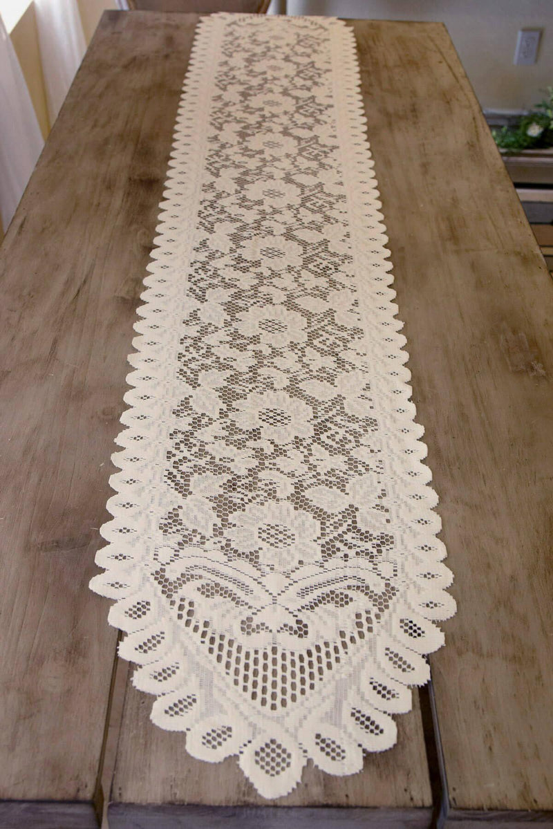 Ivory Lace Table Runner & Chair Sash 13 x 76in