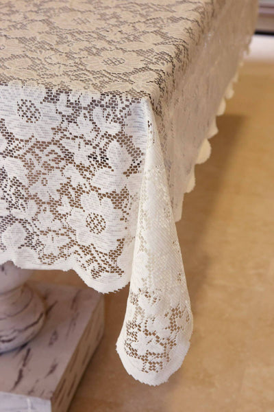 Tablecloth Lace Square Ivory 54in