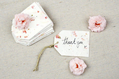 "32 Pink Larkspur Petal Seeded Paper Tags 2.5"" x  3.375"", Wildflower Gift Tag"