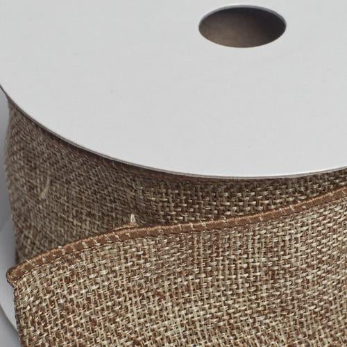 richland burlap ribbon with wire taupe 2 5 x 10 yards