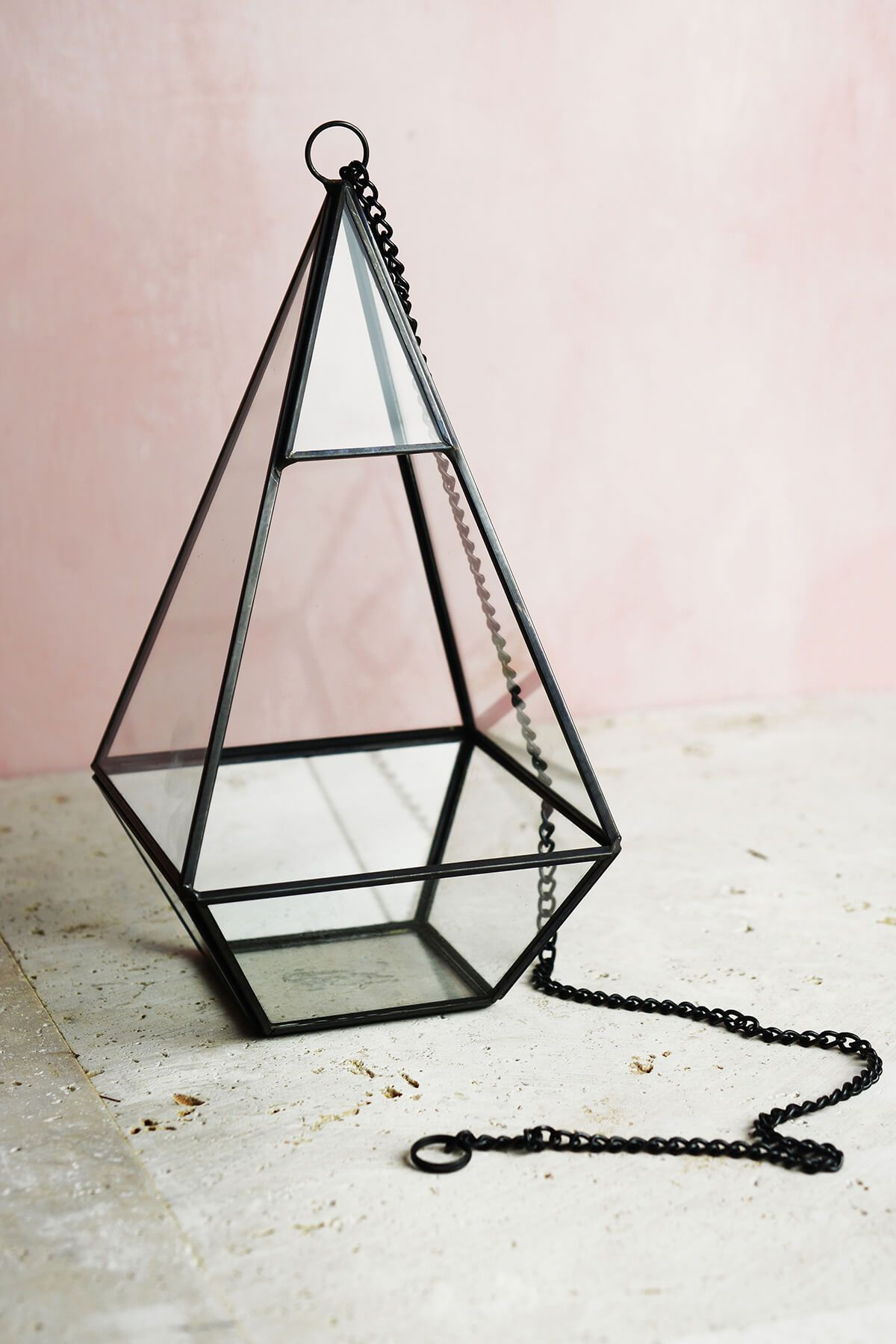 "Hanging 9"" Hexagonal Based Glass & Metal Terrarium"