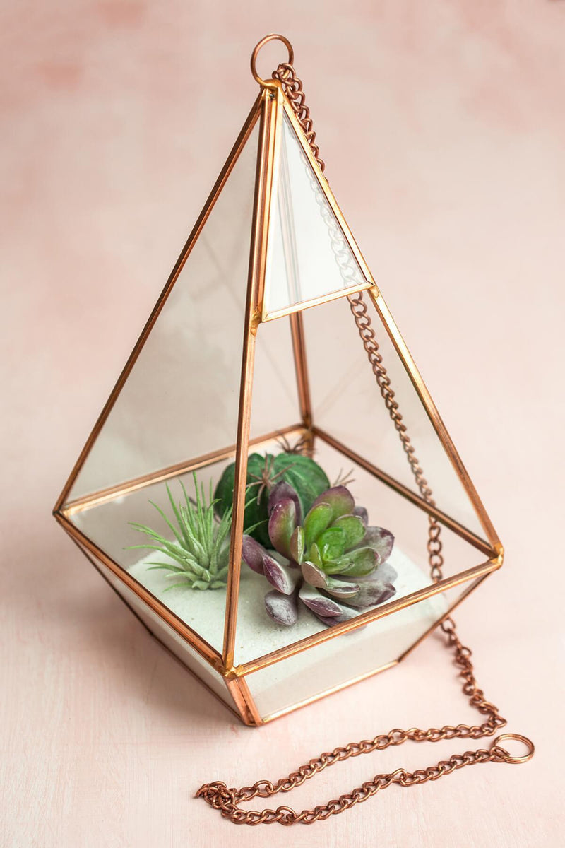 "Copper Hanging 9"" Hexagonal Based Glass & Metal Terrarium"