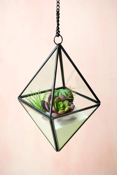 hanging 8 octahedron glass metal terrarium