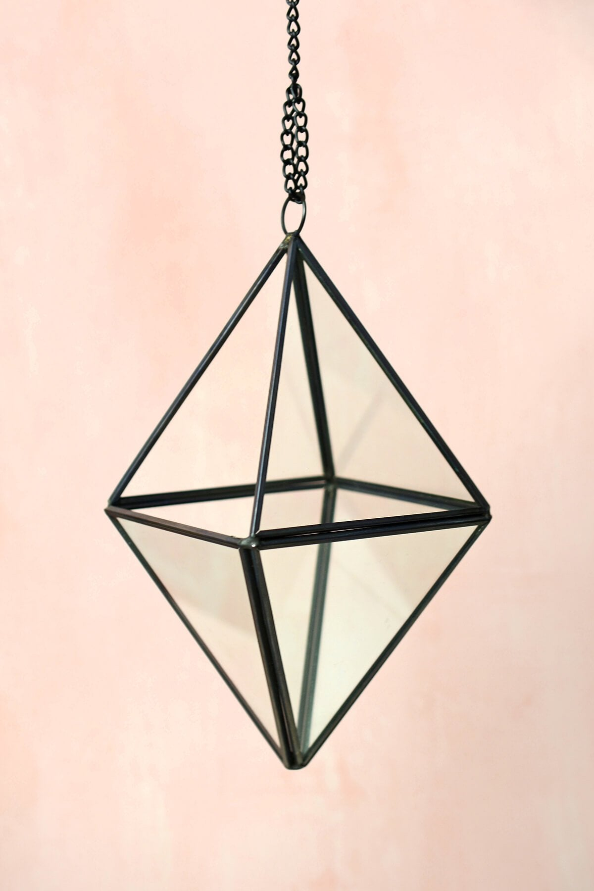 "Hanging 8"" Octahedron Glass & Metal Terrarium"
