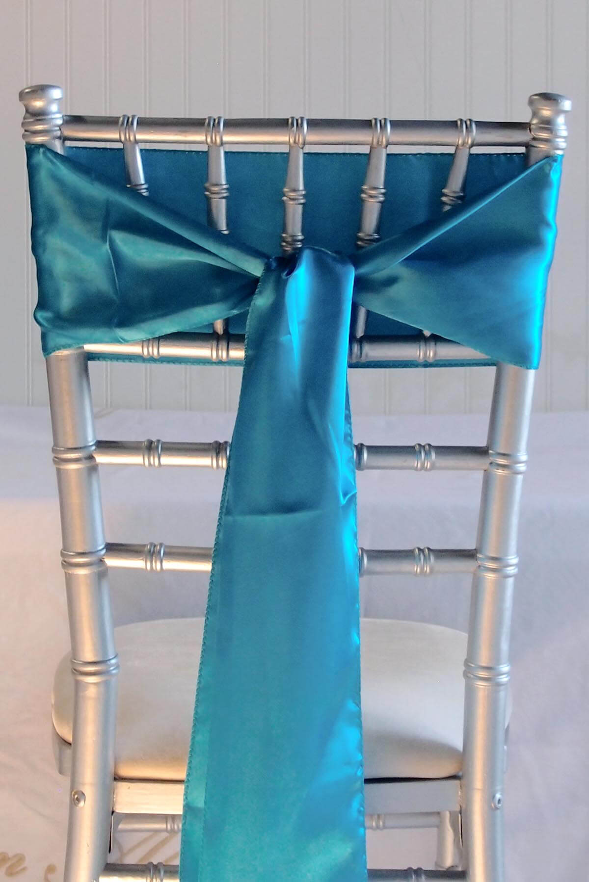 10 Turquoise Blue Satin Chair Sashes  6x106