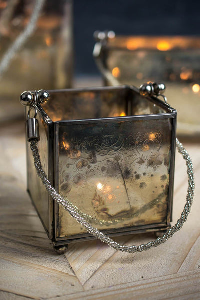 Victoria Square Etched Glass Candle Holder  4in