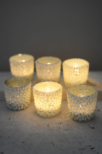 6 Pearl Votive Candle Holders