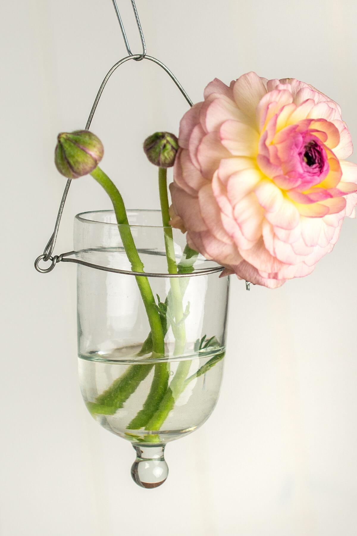 hanging candle holder set of 6 clear glass