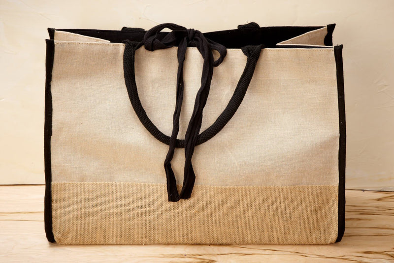 burlap cotton tote bag with black trim lining