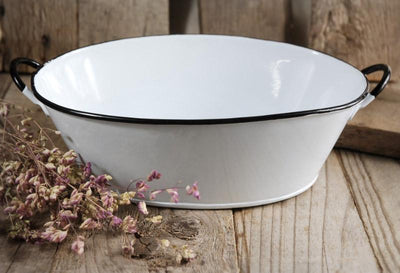 White Enamel Oval Tub with Handles 10.5 x7