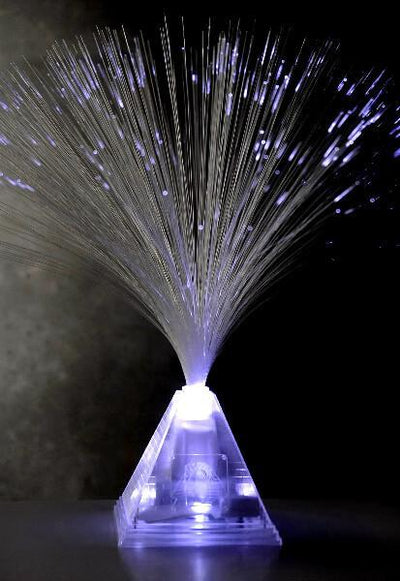 fiber optic centerpiece white with pyramid base 14x16