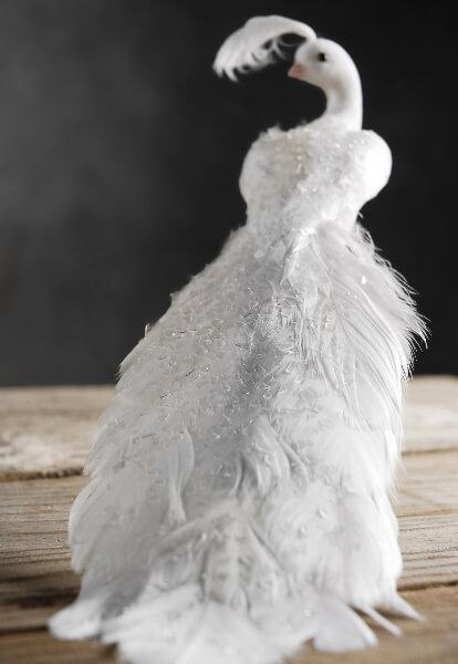 White Feathered Peacocks with Glitter 9""