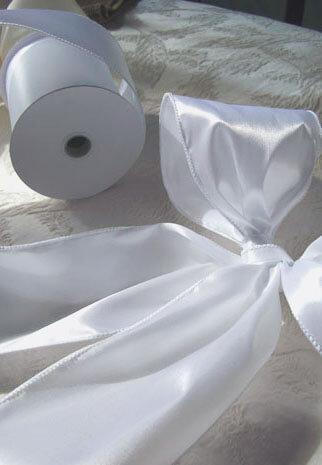 white 4 wide satin wired ribbon 10yds
