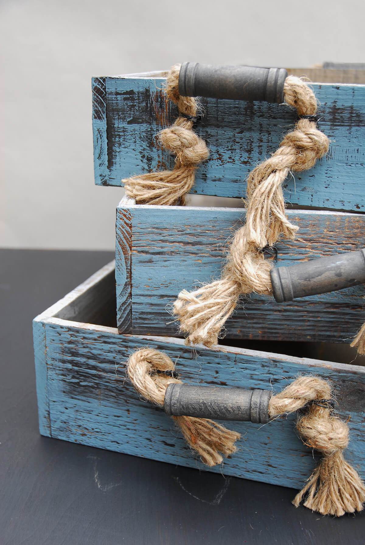 3 Blue Wood Trays Rope Handles, Coastal Decor