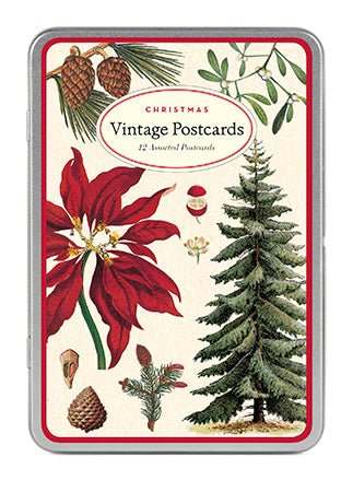 """Vintage Christmas Botanica"" Set of 12 Assorted Holiday Postcards"