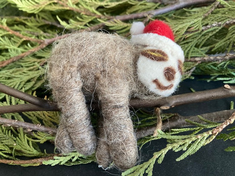 Felt Santa Sloth Ornament