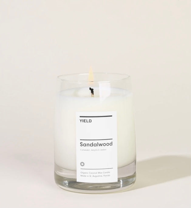 Sandalwood: 8 oz. Organic Coconut Wax Candle in Glass