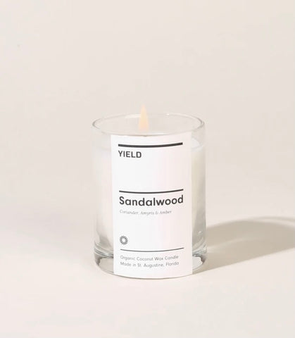 Sandalwood: Organic Coconut Wax Votive Candle in Glass
