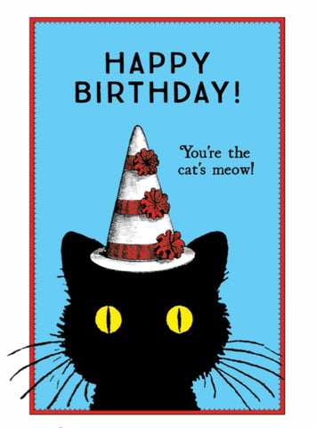 """You're The Cat's Meow"" Happy Birthday Note Card"