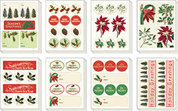 """Vintage Christmas Botanica"" Set of Assorted Christmas Stickers"