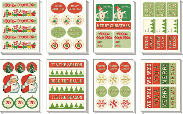 """Vintage Christmas 2"" set of assorted Christmas stickers"