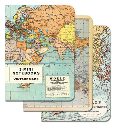 Vintage Maps Set of Mini Notebooks