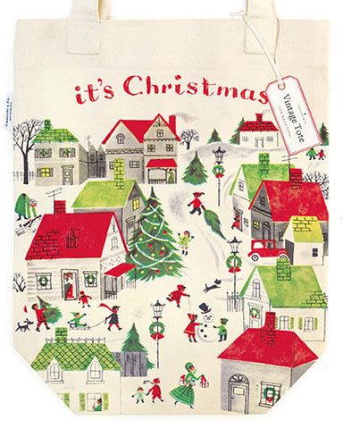 """Vintage Christmas Village"" Holiday Tote Bag"