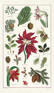 """Vintage Christmas Botanica"" Holiday Tea Towel"