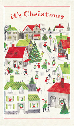 """Vintage Christmas Village"" Holiday Tea Towel"