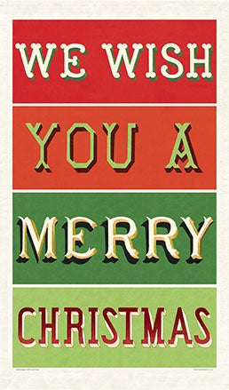 """Vintage We Wish You A Merry Christmas"" Holiday Tea Towel"