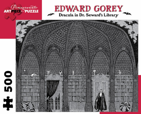 "Edward Gorey: ""Dracula in Dr. Seward's Library"" 500 piece jigsaw puzzle"