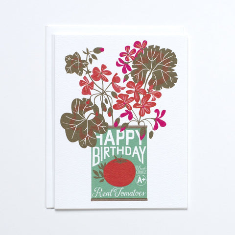 """Tomato Can Geraniums"" Birthday Card"