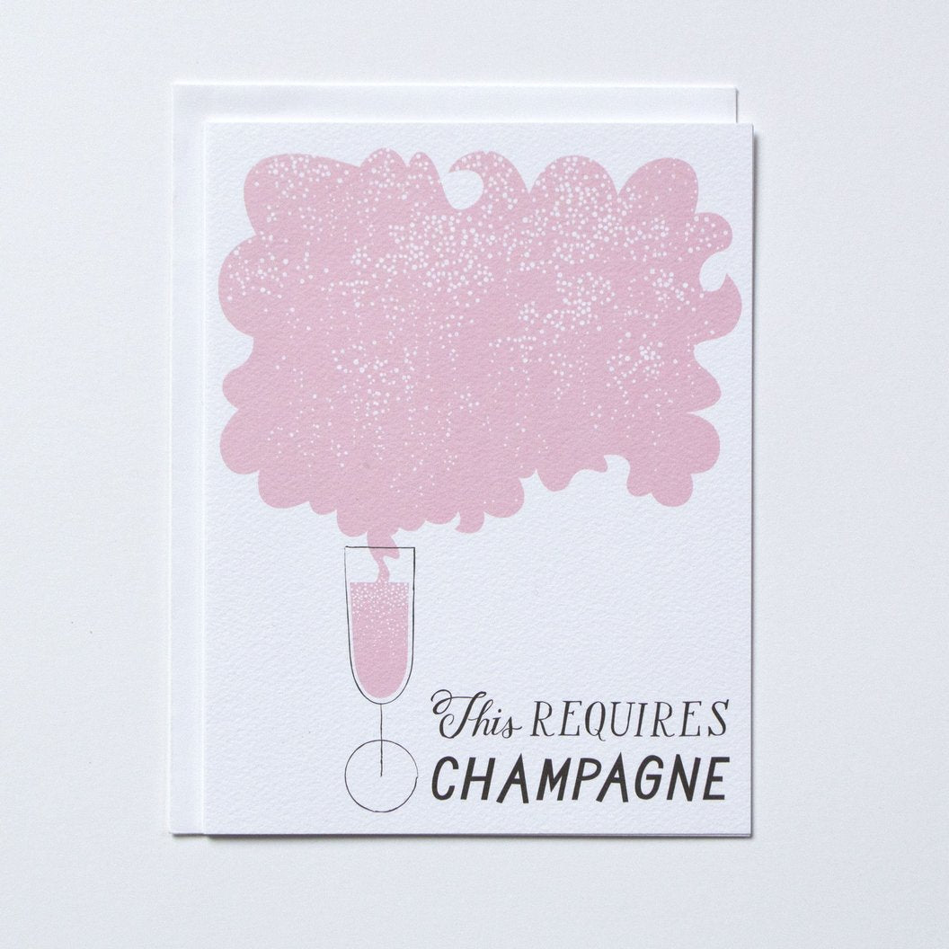 """This requires Champagne"" Note Card"