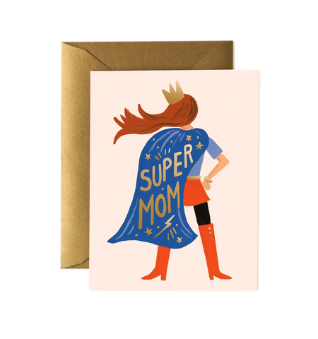 """Super Mom Blue Cape"" Mother's Day Card"