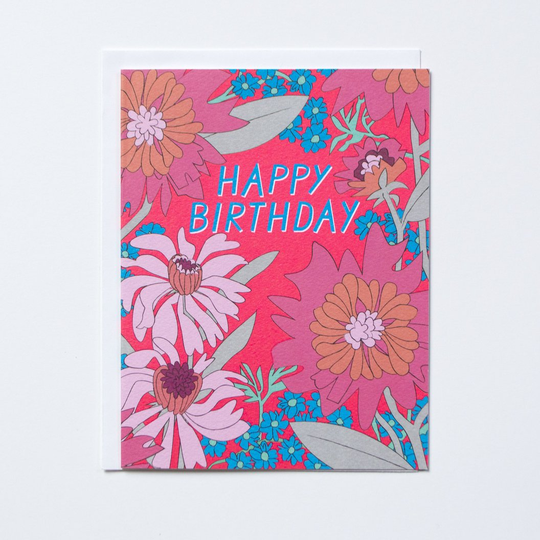 """60s Floral"" Birthday Card"