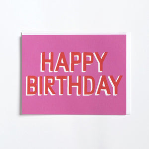 """Pink & Red"" Happy Birthday Card"