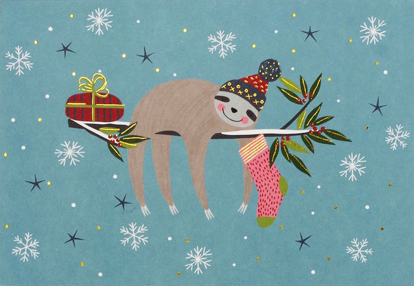"""Festive Sloth"" Boxed Holiday Cards"