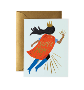 """Super Mom Red Cape"" Mother's Day Card"