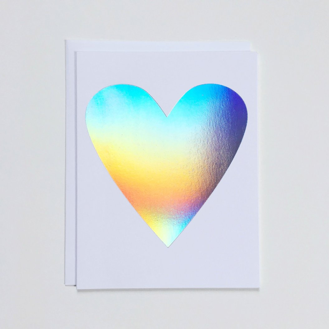 """Holographic Heart"" Note Card"