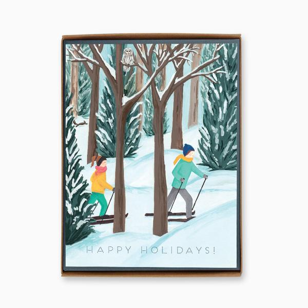 """Happy Holidays: Cross Country"" box of 8 holiday cards"