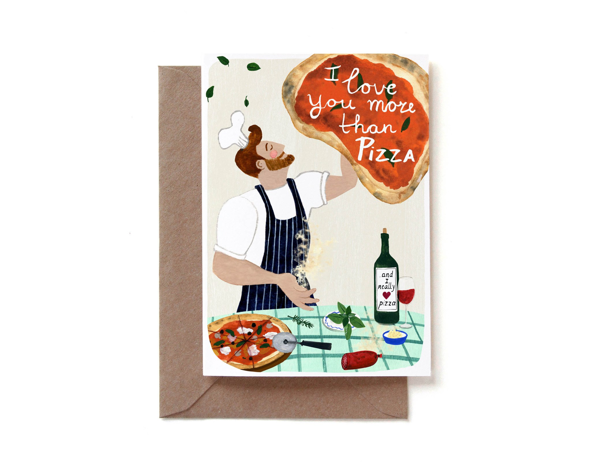 """I Love You More Than Pizza"" Note Card"