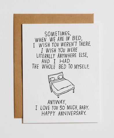"""Bed To Myself"" Anniversary Card"