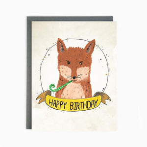 """Birthday Fox"" Note Card"