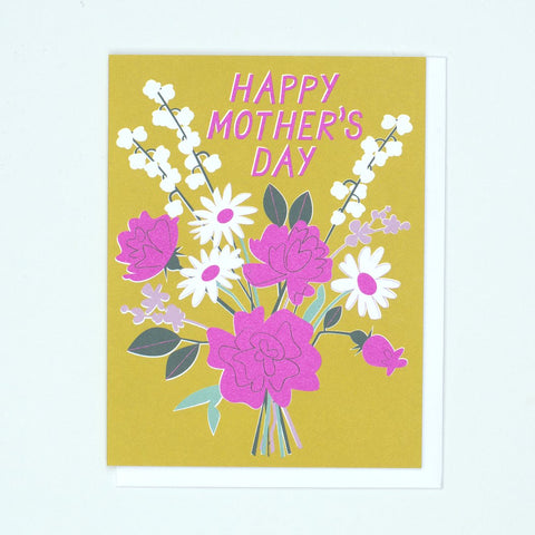 """Flowers on Mustard"" Mother's Day Card"