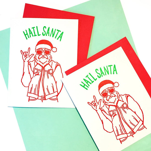 "Smitten Kitten: ""Hail Santa"" Boxed Holiday Cards"
