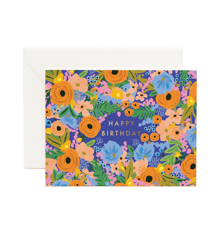 """Simone"" Blue Floral Happy Birthday Note Card"