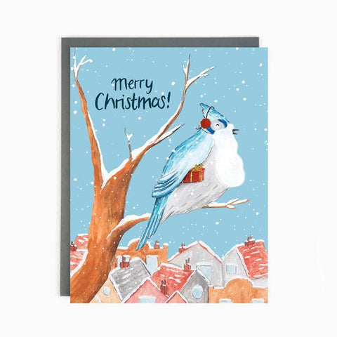"""Snowy Blue Jay"", box of 8 Christmas cards"