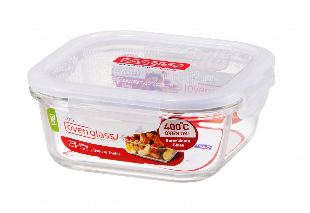 LOCK & LOCK SQUARE GLASS CONTAINER WITH LID 750ML