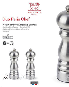 PEUGEOT PARIS SALT & PEPPER GIFTSET 18CM STAINLESS STEEL