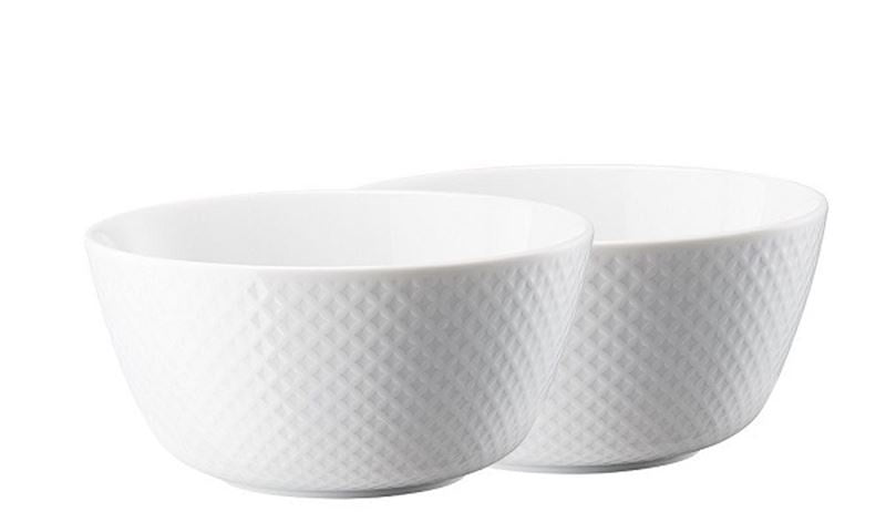 ROSENTHAL JUNTO CEREAL BOWLS 14CM SET OF 2 WHITE